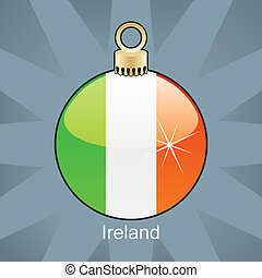Ireland flag in christmas bulb - fully editable vector...