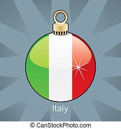 Italy flag in christmas bulb - fully editable vector...