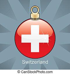 Switzerland flag in christmas bulb