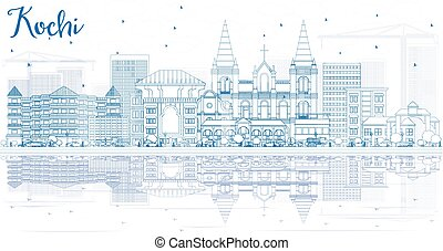 Outline Kochi Skyline with Blue Buildings and Reflections....