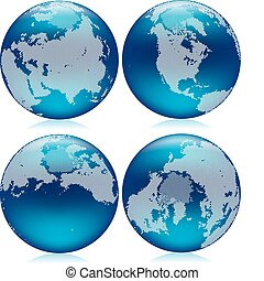 Northern hemisphere - Vector illustration of shiny blue...