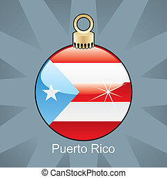 Puerto Rico flag in christmas bulb - fully editable vector...