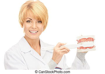 doctor with toothbrush and jaws - picture of attractive...