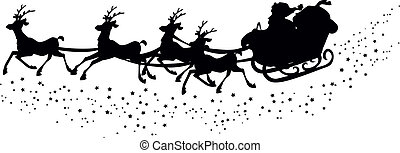 Silhouette of santas sleigh - Illustrated silhouette of...