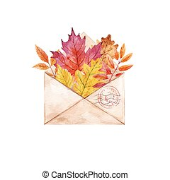 Watercolor vector envelop with leaves - Beautiful vector...