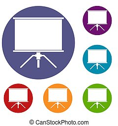 Blank projection screen icons set in flat circle red, blue...