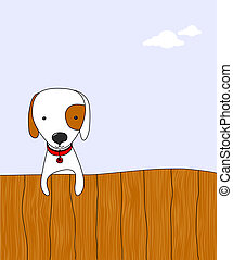 cute dog - cartoon dog on a wooden fence