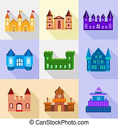 Fortress and bastion icons set, flat style - Fortress and...