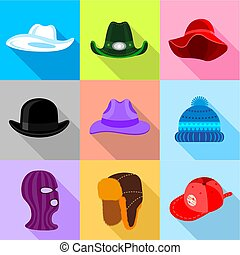 Different hat icons set, flat style - Different hat icons...