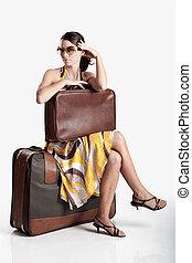 Fashion woman - Beautiful young fashion woman posing with a...