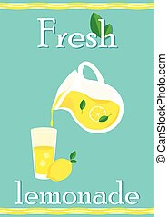 Fresh lemonade - Poster with lemonade elements glass, lemon,...
