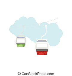 Cable way vector - Vector illustration of flat cable car....
