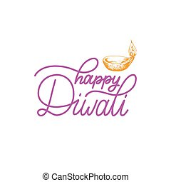 Diwali festival poster with hand lettering. Vector lamp...