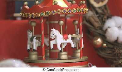 New year souvenir - toy carousel - Close-up - red Christmas...