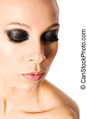 smokey eyes - beautiful woman with smokey eyes makeup...