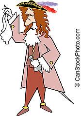 Pirate swashbuckler clip art - Pirate swashbuckler wearing a...