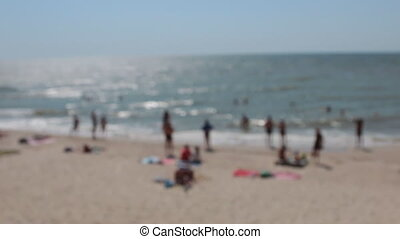 Blurred beach view from the hillock. Panorama. No focus