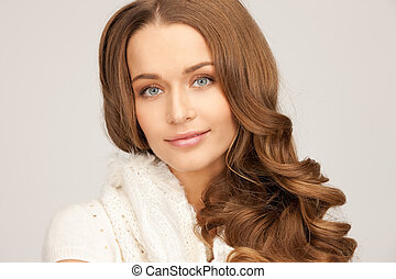beautiful woman in white comforter - picture of beautiful...