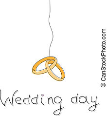Wedding day - Vector picture of wedding rings
