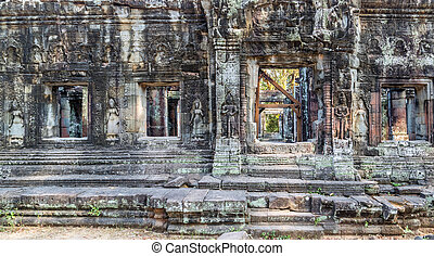Angkor Wat, Window and door. Siem Reap, Cambodia. - Window...