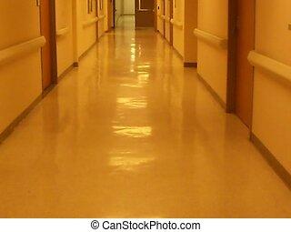 empty halls - a walk down an enpty hallway in a medical...