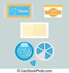 Illustration of cheese in the package - Vector colorful set...