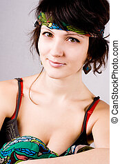 bonito, mulher, jovem,  Hippie
