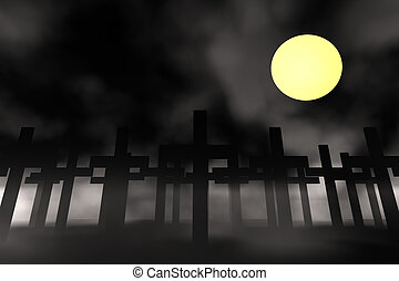 holy cross - crosses on moon background