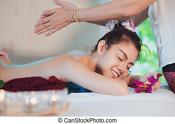 Asian lady relax in skin care aroma therapy and scrub spa,...