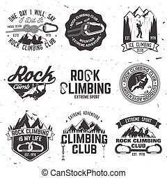 Vintage typography design with climber, carabiner and...