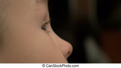 Boy looking around with wide open eyes - Close-up shot of a...