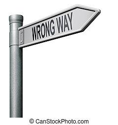 wrong way - road sign arrow indicating wrong way making a...