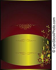 A gold menu template floral design