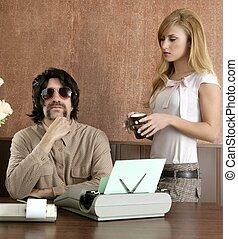 mustache retro businessman sexy secretary - mustache retro...