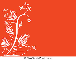 An abstract orange floral illustration