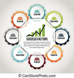 Gear Success Factor Infographic - Vector illustration of...