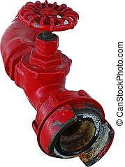 Red metal pipe - Isolated red metal pipe with valve on white...