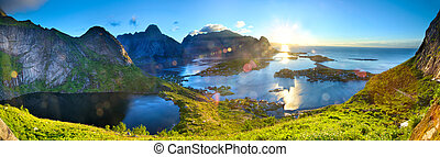 Lofoten Islands panorama - Sunrise over fishing village of...