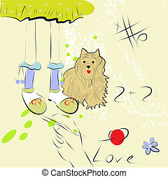 girl foots and dog