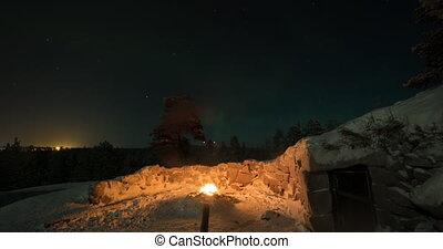 Timelapse of polar lights in Finland - Timelapse shot of...