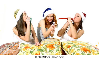 Girls with pipe and firecracker - christmas scene