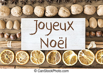 Food Flat Lay, Joyeux Noel Means Merry Christmas - Sign With...