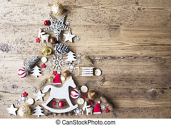 Christmas Flat Lay With Decoration, Rocking Horse, Copy...