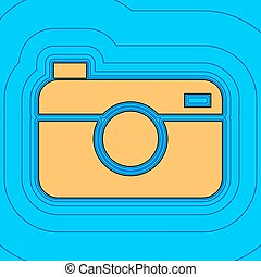 Digital photo camera sign. Vector. Sand color icon with...