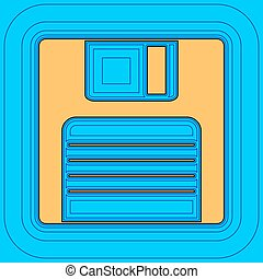 Floppy disk sign. Vector. Sand color icon with black contour...