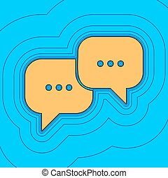 Speech bubbles sign. Vector. Sand color icon with black...