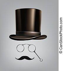 Gentleman accessories: hat cylinder, lorgnette and...