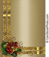 Christmas background gold ribbons