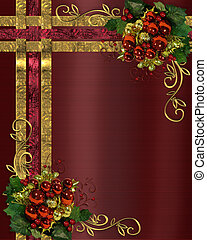 Christmas background gold ribbons - Illustration composition...