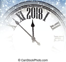 2018 New Year background with clock. - 2018 winter...
